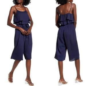 New one clothing navy blue jumpsuit cropped romper